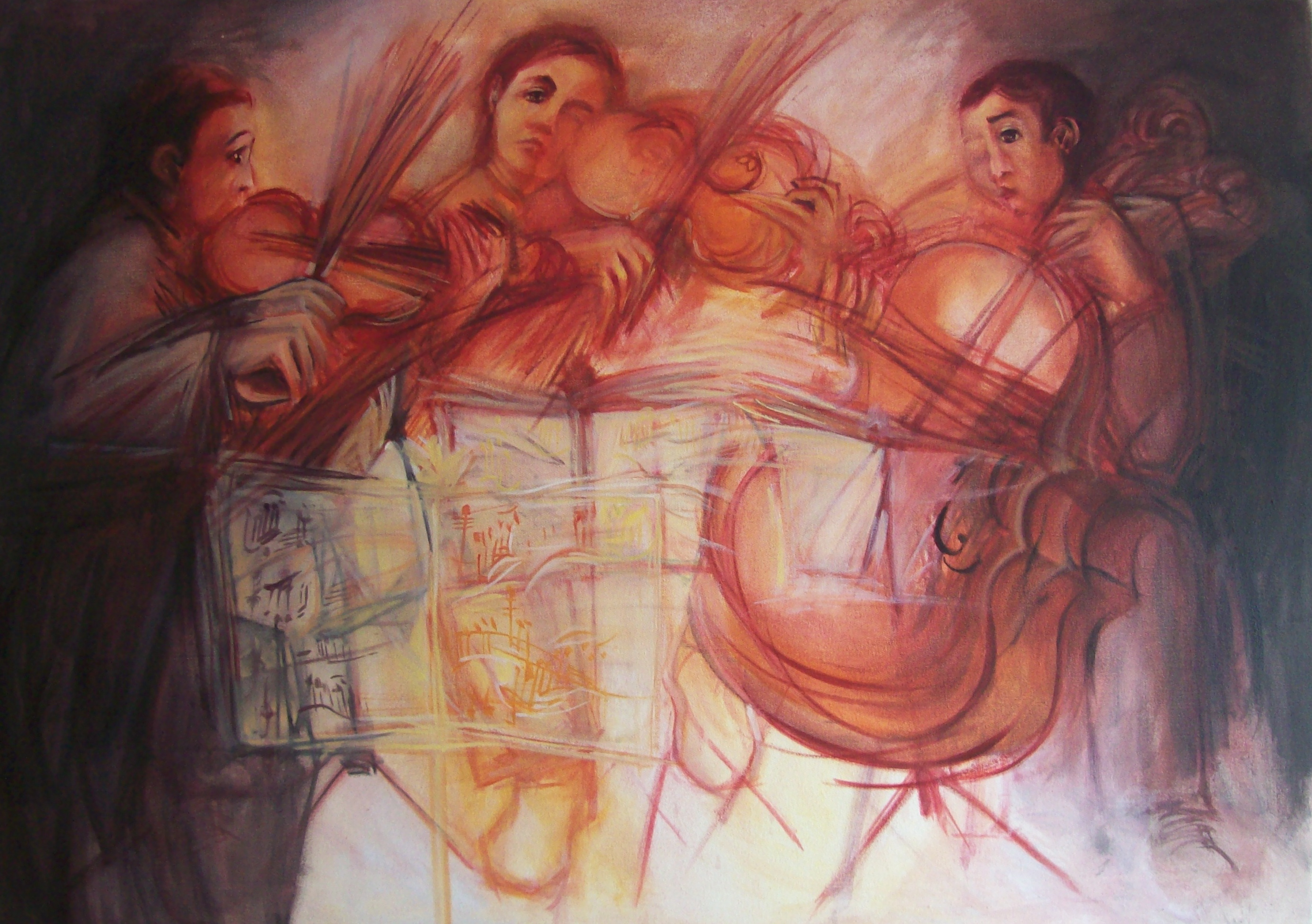 a painting of a chambre auchestra