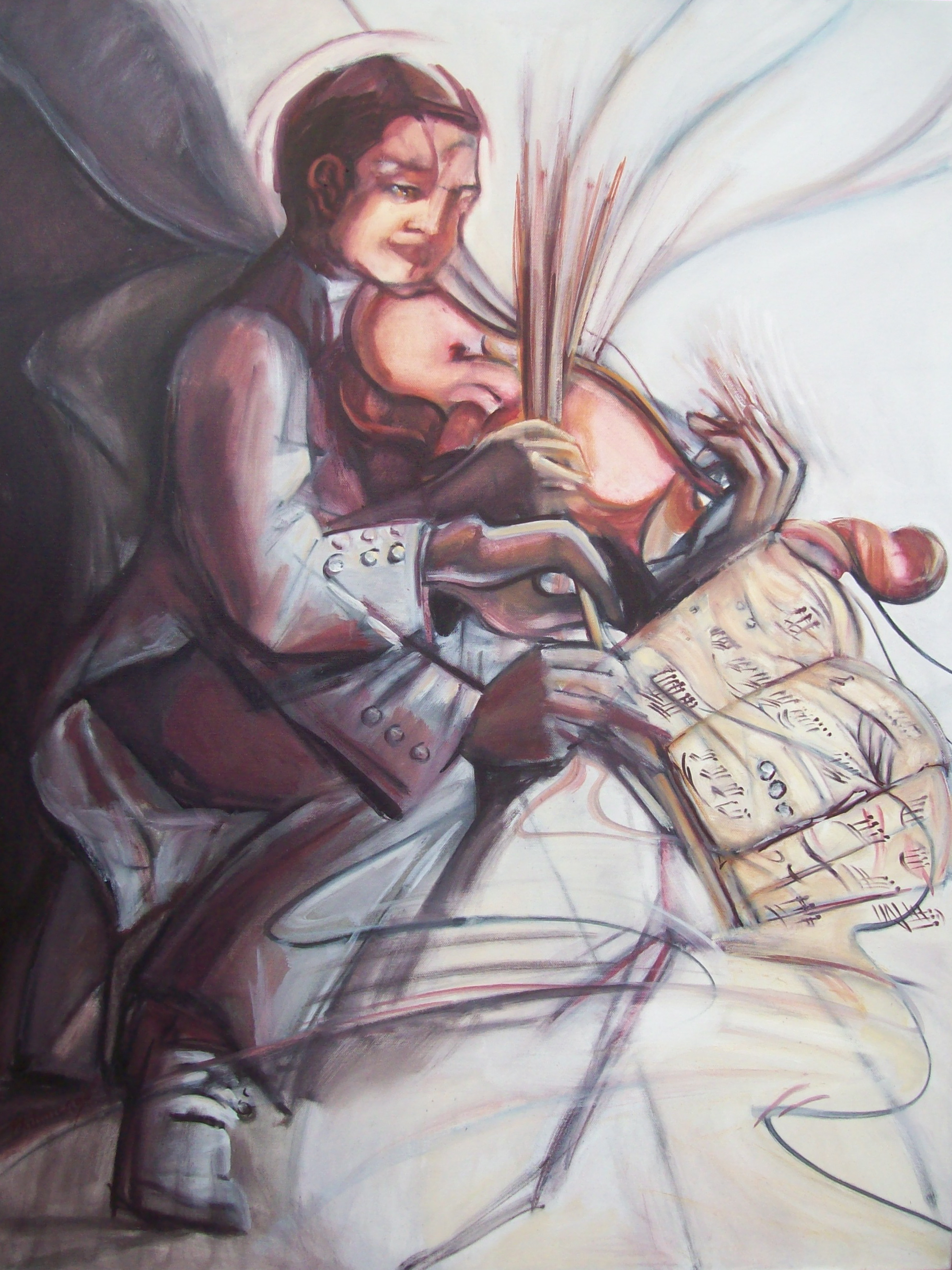 a painting of a violinist pulling the dots off the page and translating them into waves and distortions of the image
