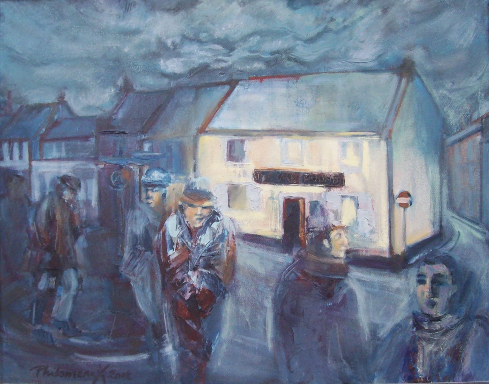 Beaminster in Blues, painting by Philomena Harmsworth