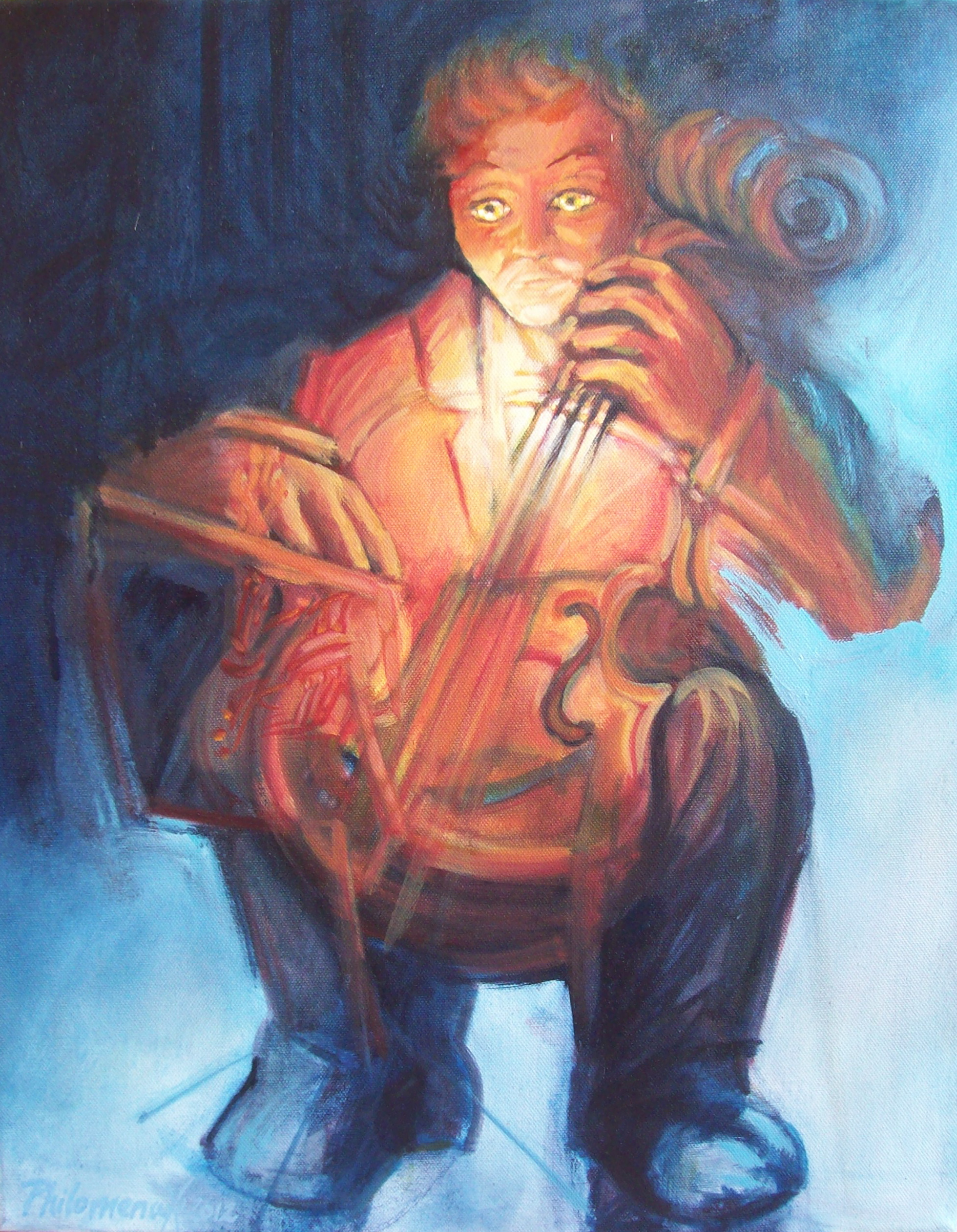 A painting of a cellist playing as though his cello is also his heart