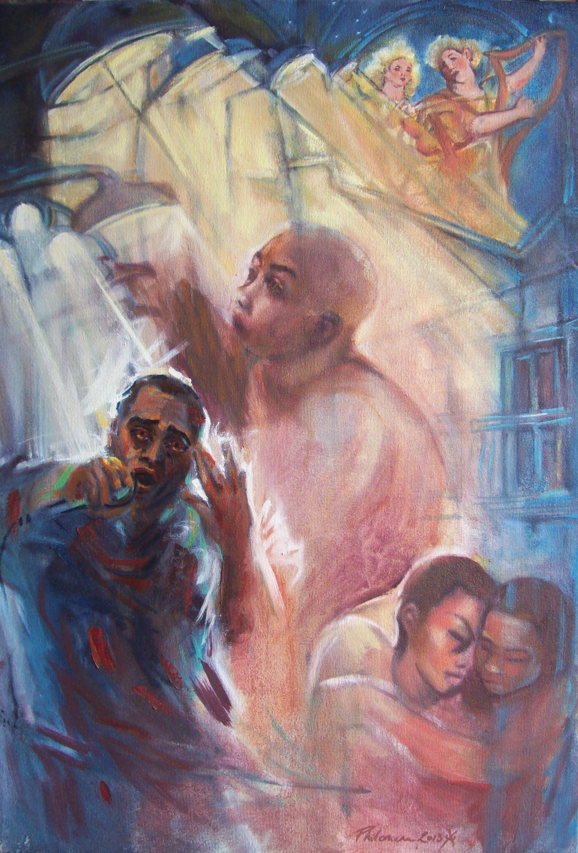 A narrative oil painting about song, singers and angels