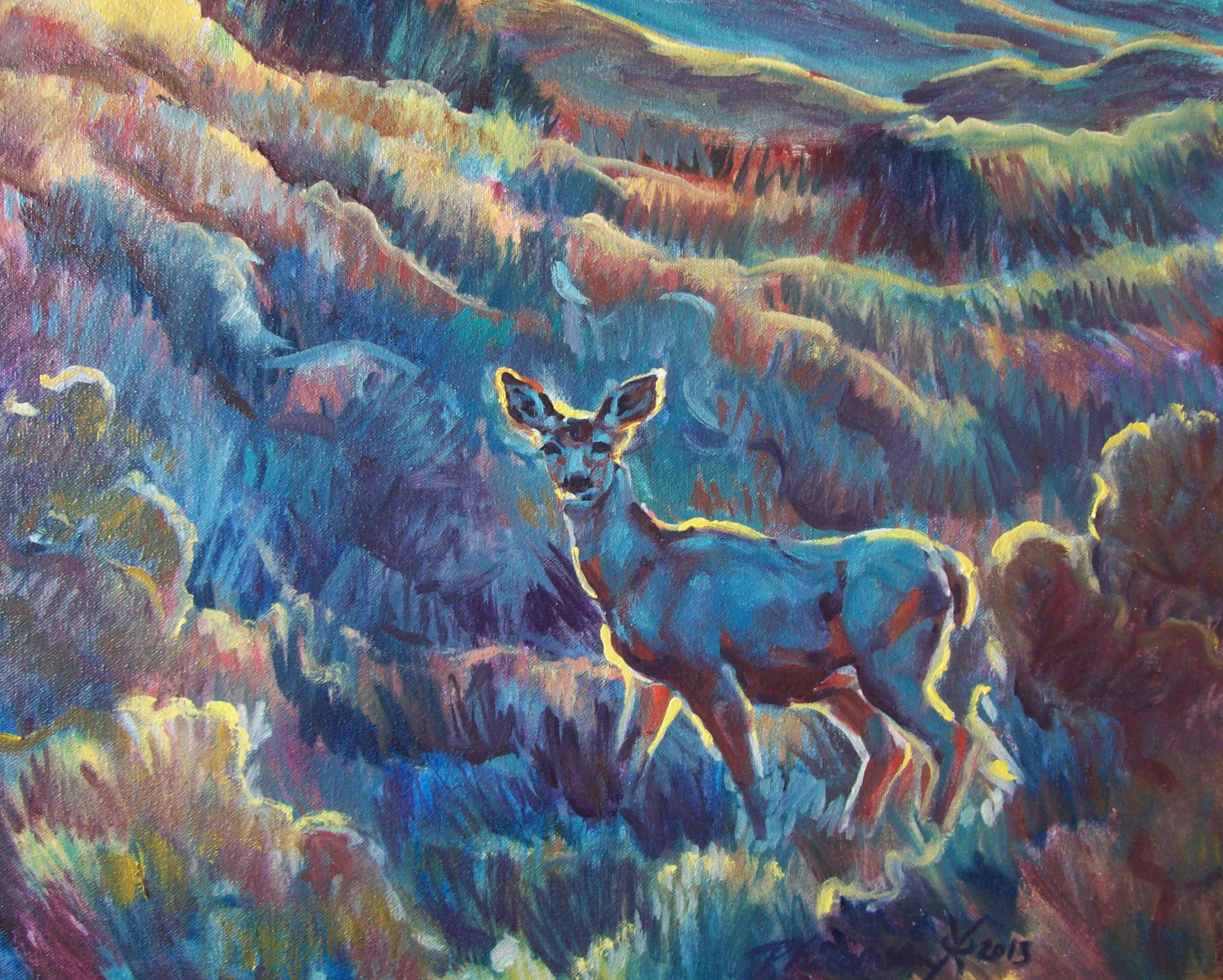 oil painting of a deer haloed in morning light