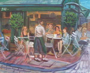 Oil on canvas, painted en plein aire of a cafe scene - Bill's in Lewes