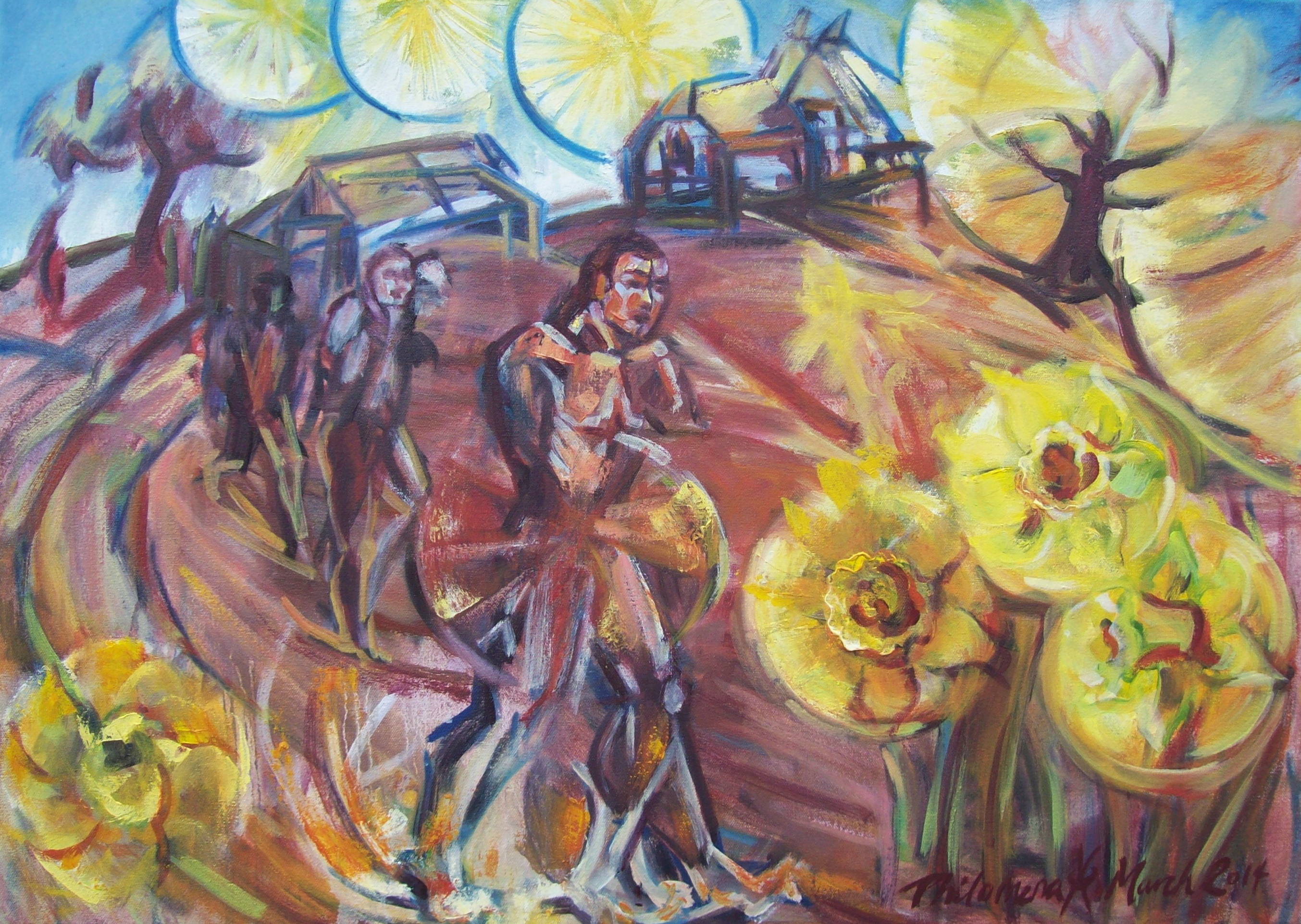 Marching for Daffodils, Shortbridge. Painting by Philomena Harmsworth