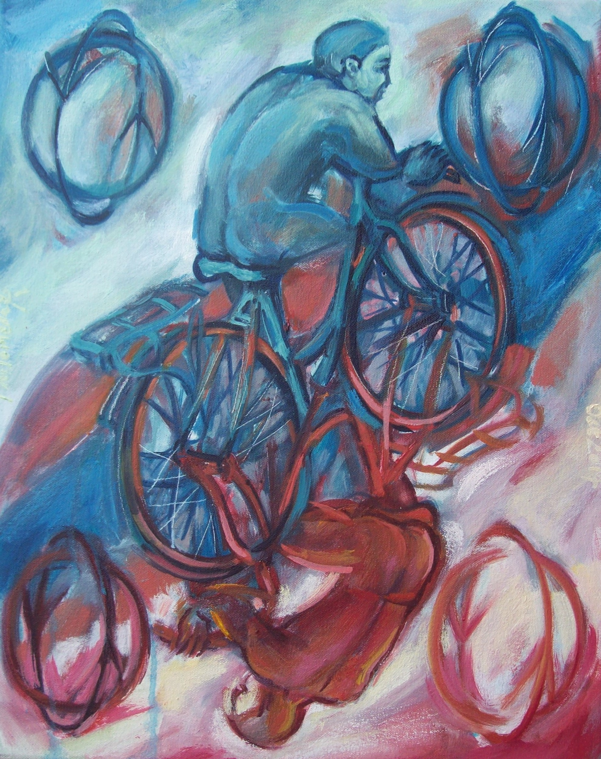 Two of bikes, painting by Philomena Harmsworth