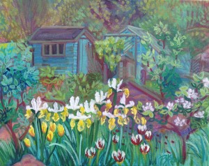 Glyndebourne Girl's, Allotments, Lewes, painting en plein aire by Philomena Harmsworth