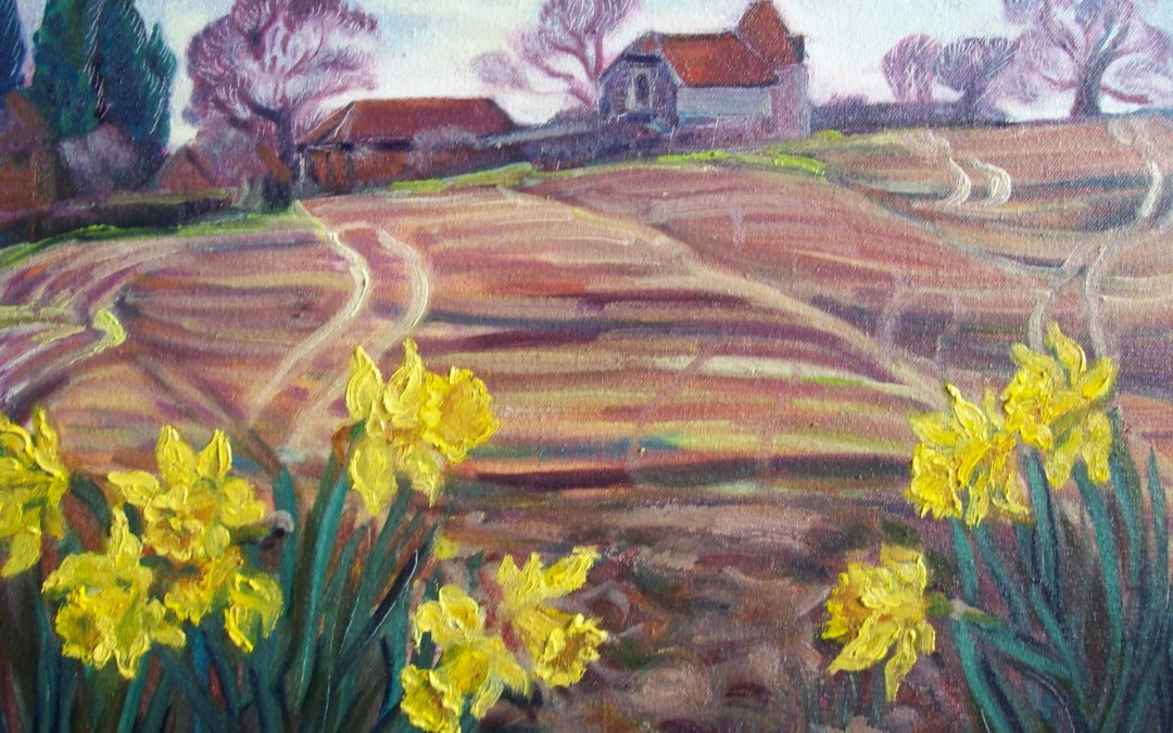 Oast House and Daffodils, Piltdown