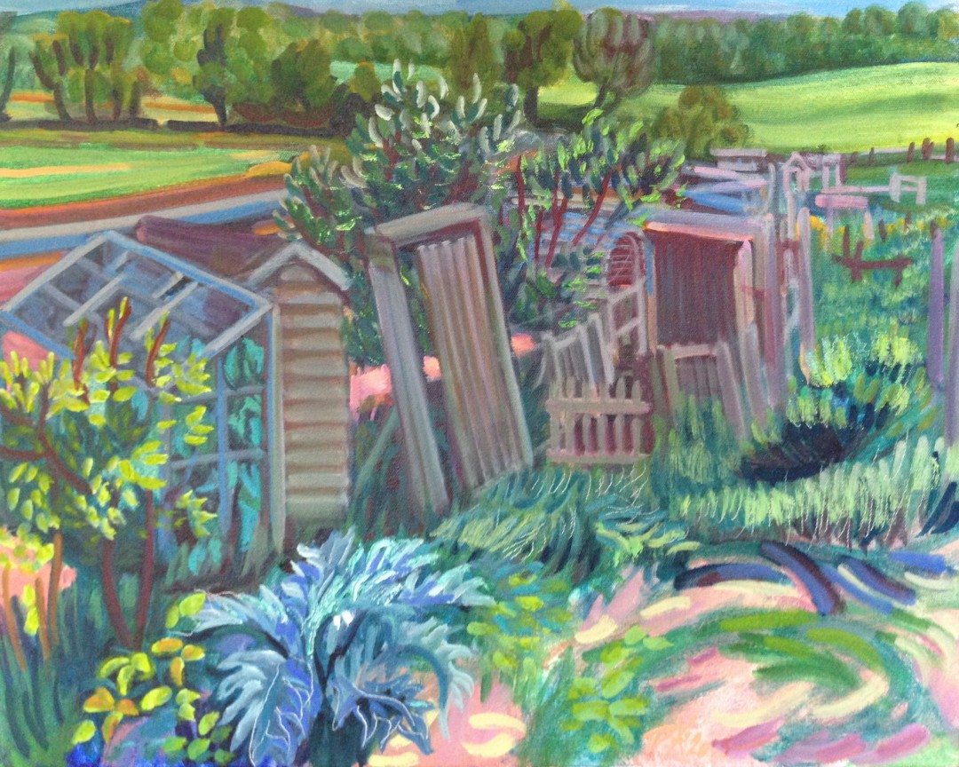 Raked Sheds, Allotments, Lewes, painting en situ by Philomena Harmsworth