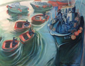 In the arms of the Harbour, Lyme Regis, oil painting by Philomena Harmsworth