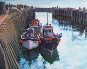 West Bay Boats, oil painting by Philomena Harmsworth