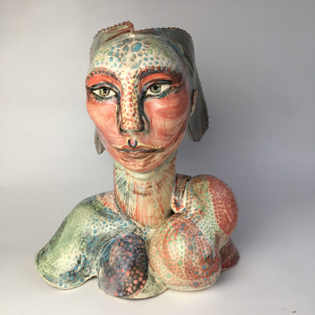 Chameleon Woman front view, ceramic sculpture by Philomena Harmsworth