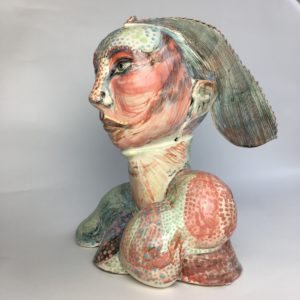 Chameleon Woman left view, ceramic sculpture by Philomena Harmsworth