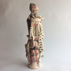 Pierrot back side view, ceramic sculpture by Philomena Harmsworth