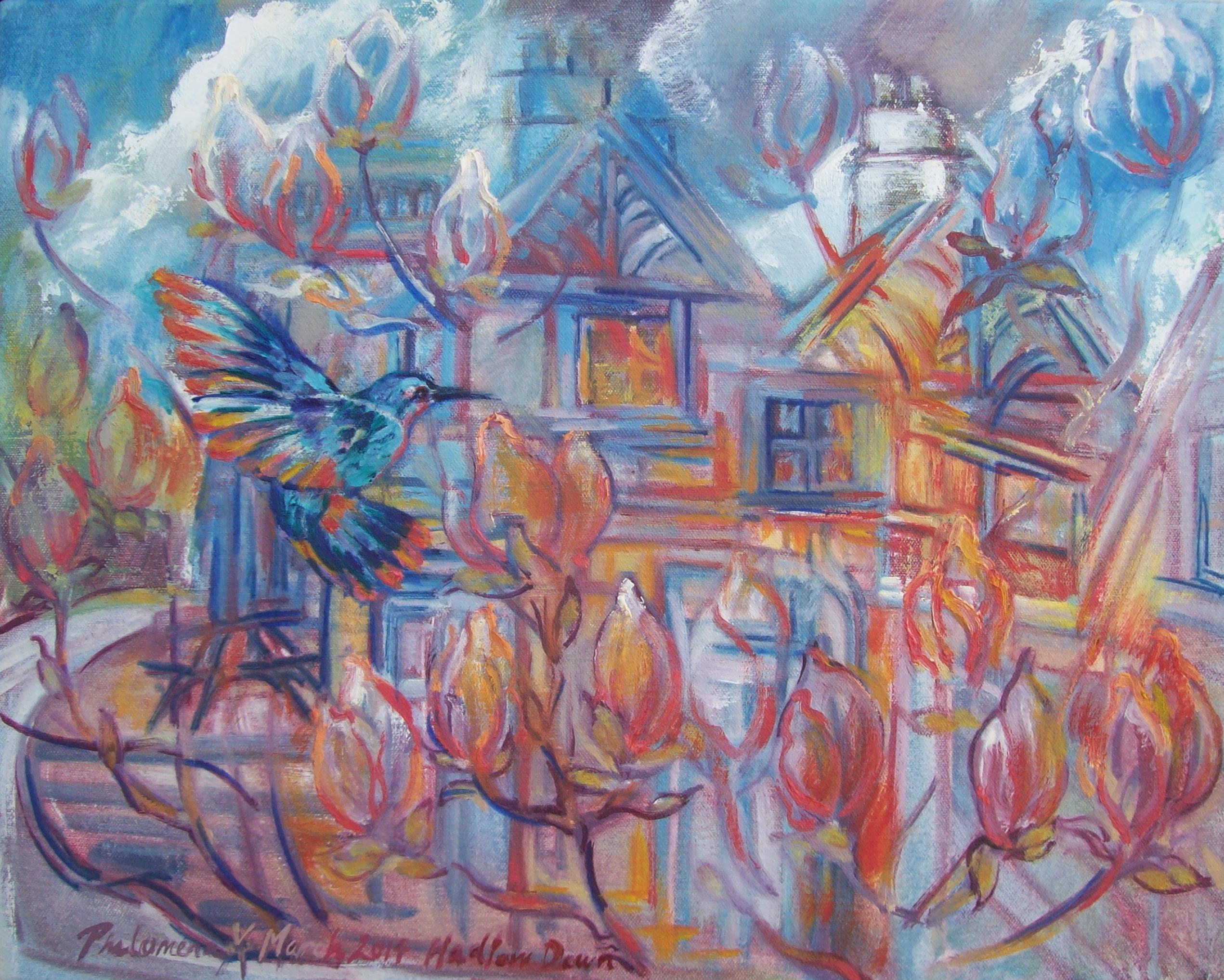 Flaming Magnolias, Hadlow Down, painting by Philomena Harmsworth