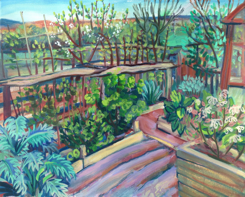Potato Mounds, Allotments, Lewes,painting en plein aire by Philomena Harmsworth