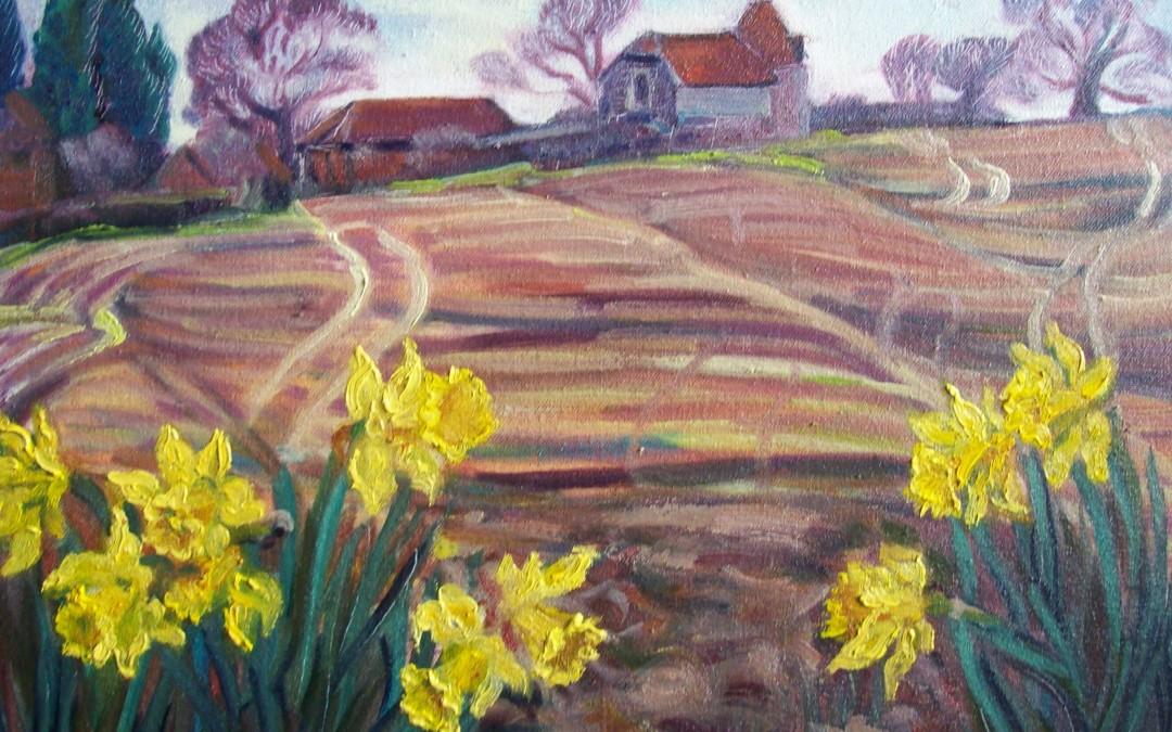 Oast House and Daffodils, Piltdown
