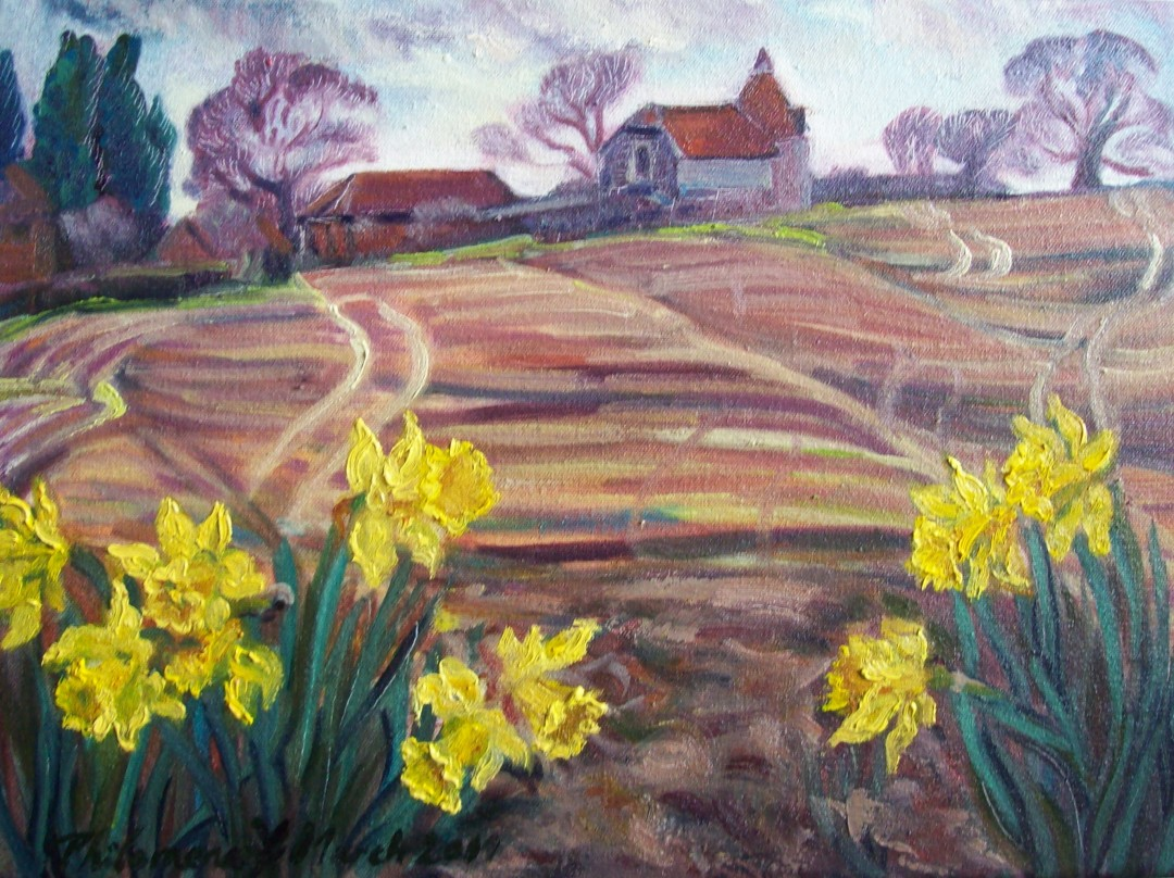 Oust House and Daffs, painting by Philomena Harmsworth, en plein aire