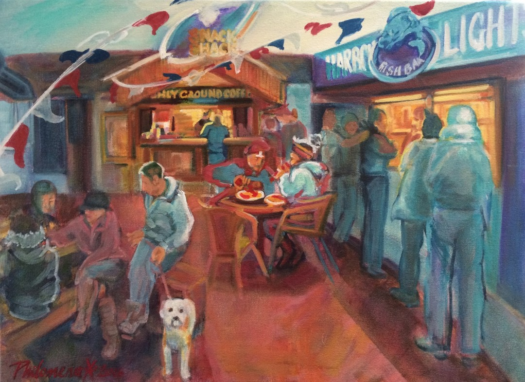 Harbour Lights & Snack Shack, oil painting by Philomena Harmsworth
