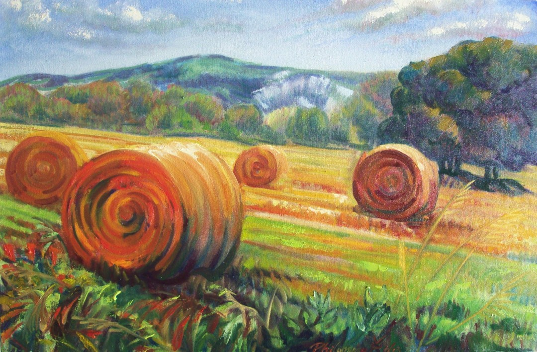 Rolls on the Downs, Lewes, oil painting by Philomena Harmsworth