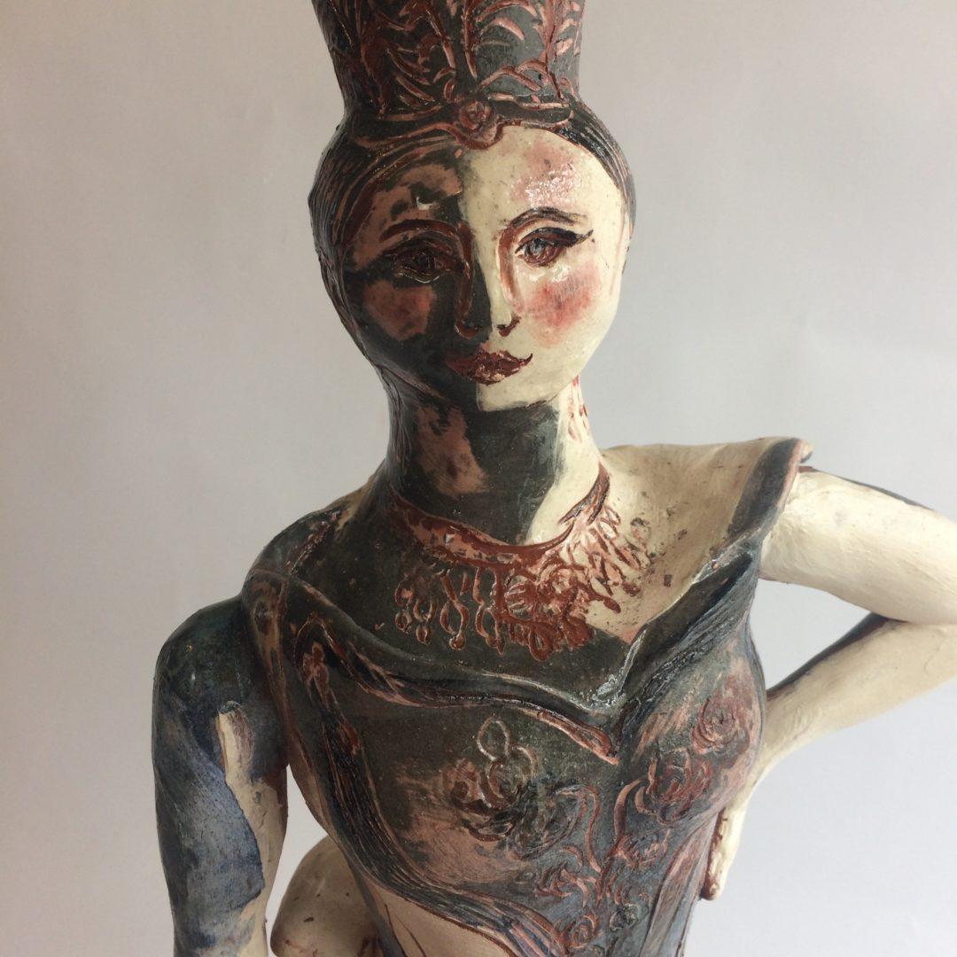 Helene face detail, ceramic sculpture by Philomena Harmsworth