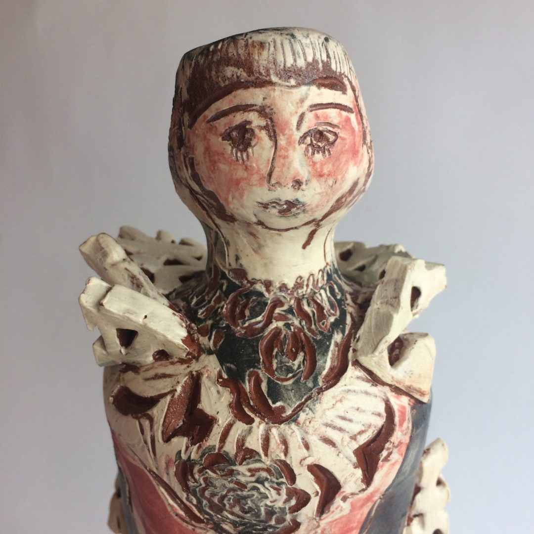Pierrot face detail, ceramic sculpture by Philomena Harmsworth