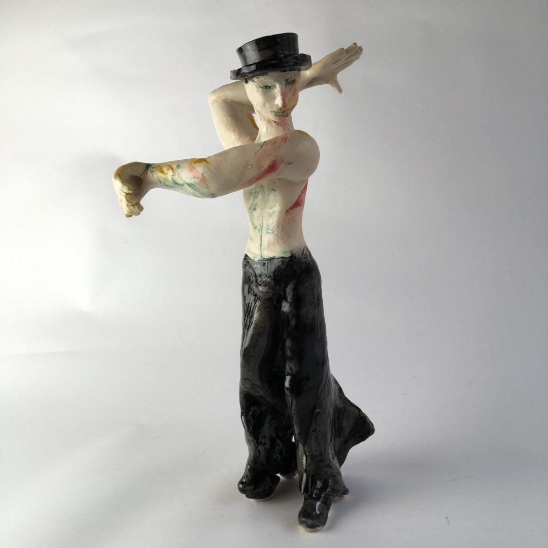 ceramic figurine, Male Flamenco Dance by artist Philomena Harmsworth
